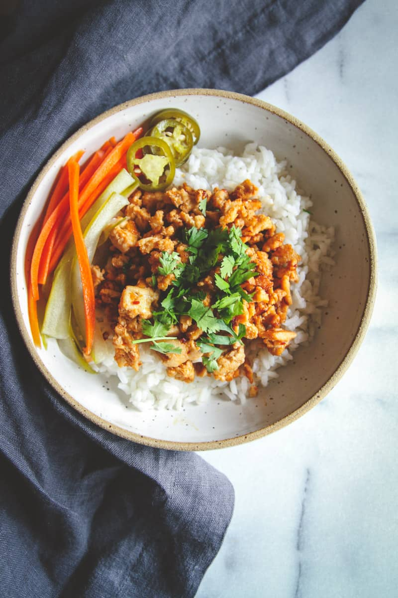 Asian Ground Turkey and Rice Bowls Recipe - Sweetphi