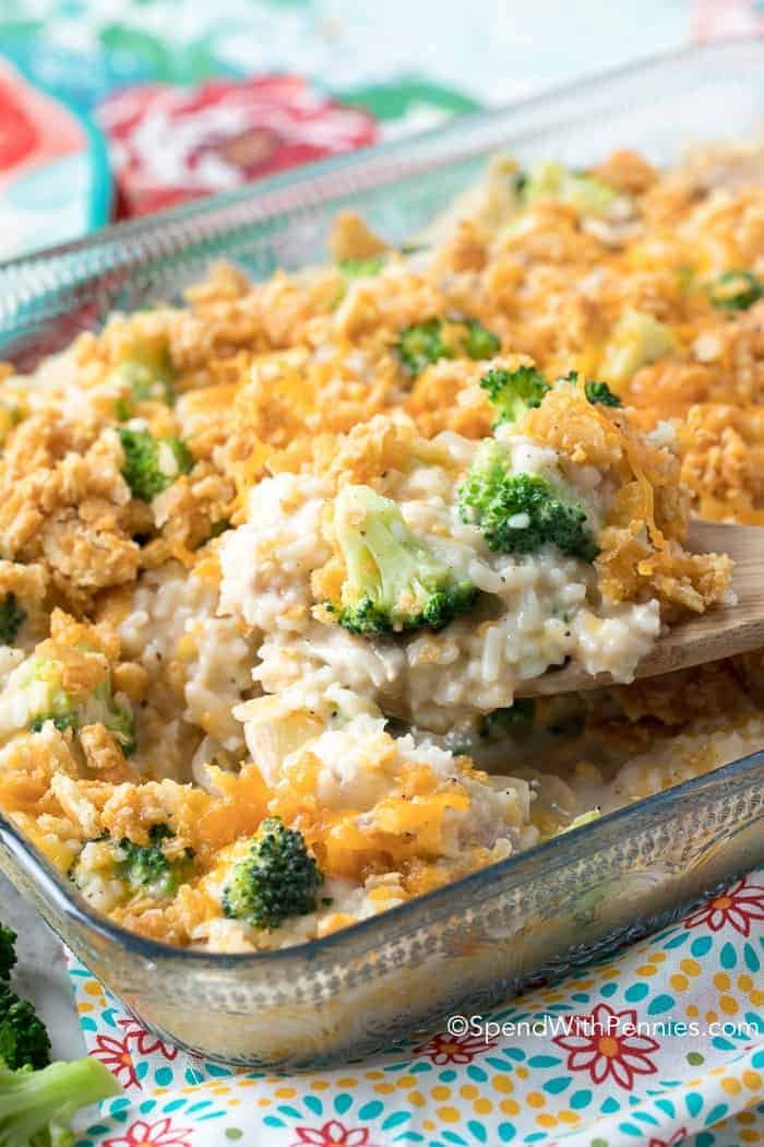 Easy Broccoli Rice Casserole with Turkey - Spend With Pennies