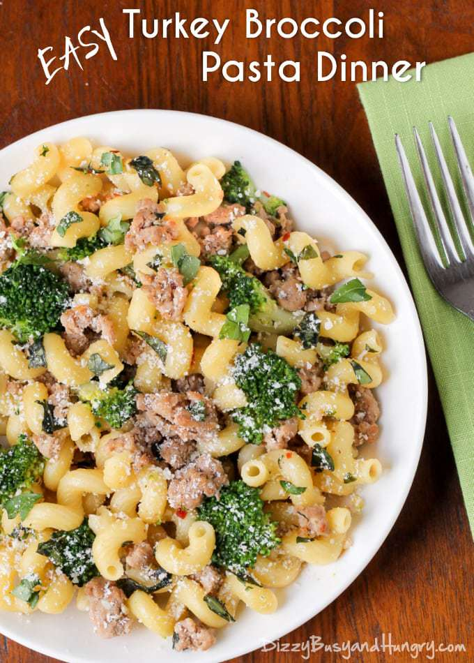 Easy Turkey Broccoli Pasta Dinner | Dizzy Busy and Hungry!