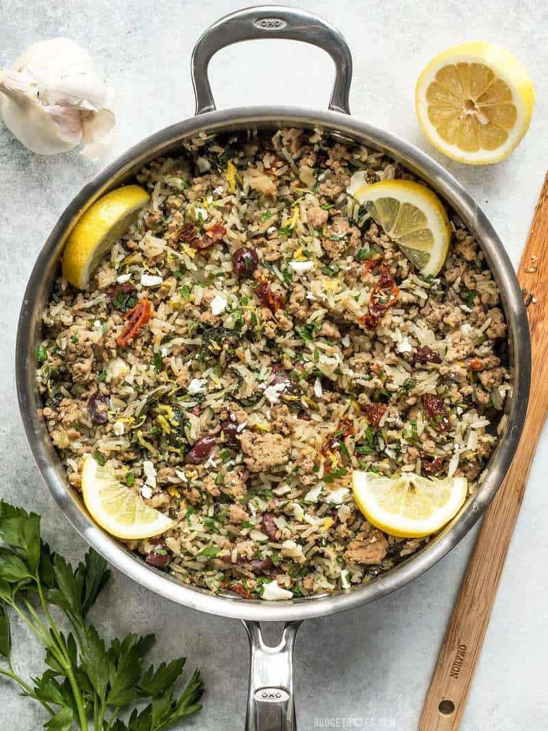Greek Turkey and Rice Skillet - One Pot Meal - Budget Bytes