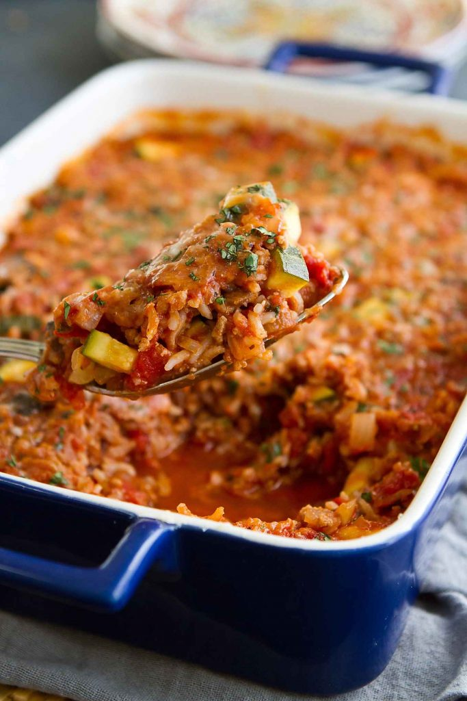 Healthy Turkey, Zucchini & Rice Casserole - Easy Dinner Recipe