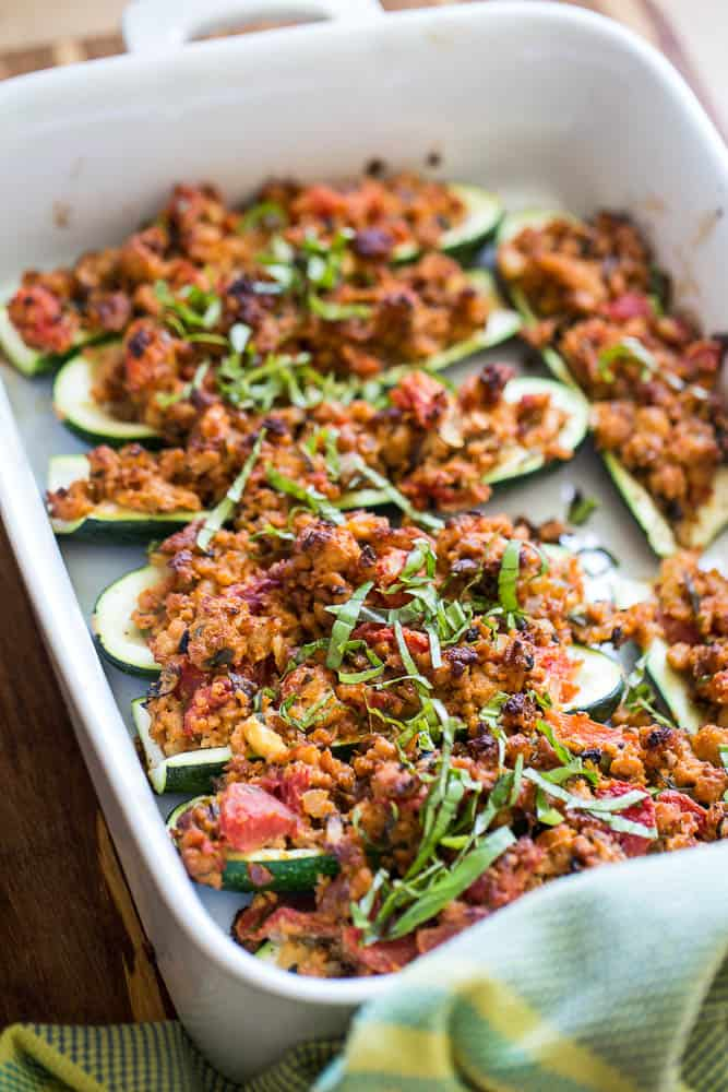 Italian Paleo Stuffed Zucchini with Turkey Sausage - Perry ...
