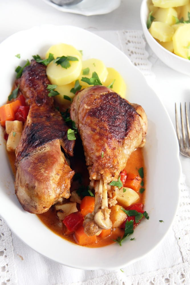Oven Roasted Turkey Drumsticks Recipe with Vegetables