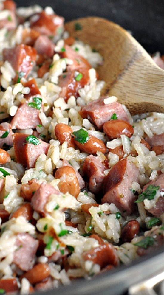 Skillet Beans and Rice with Kielbasa | Fun foods | Food ...