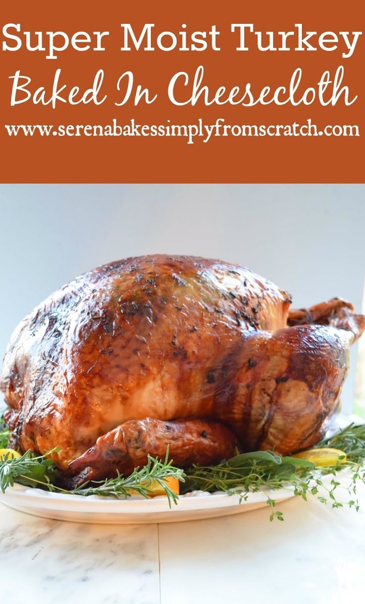 Super juicy turkey baked in cheesecloth and white wine ...