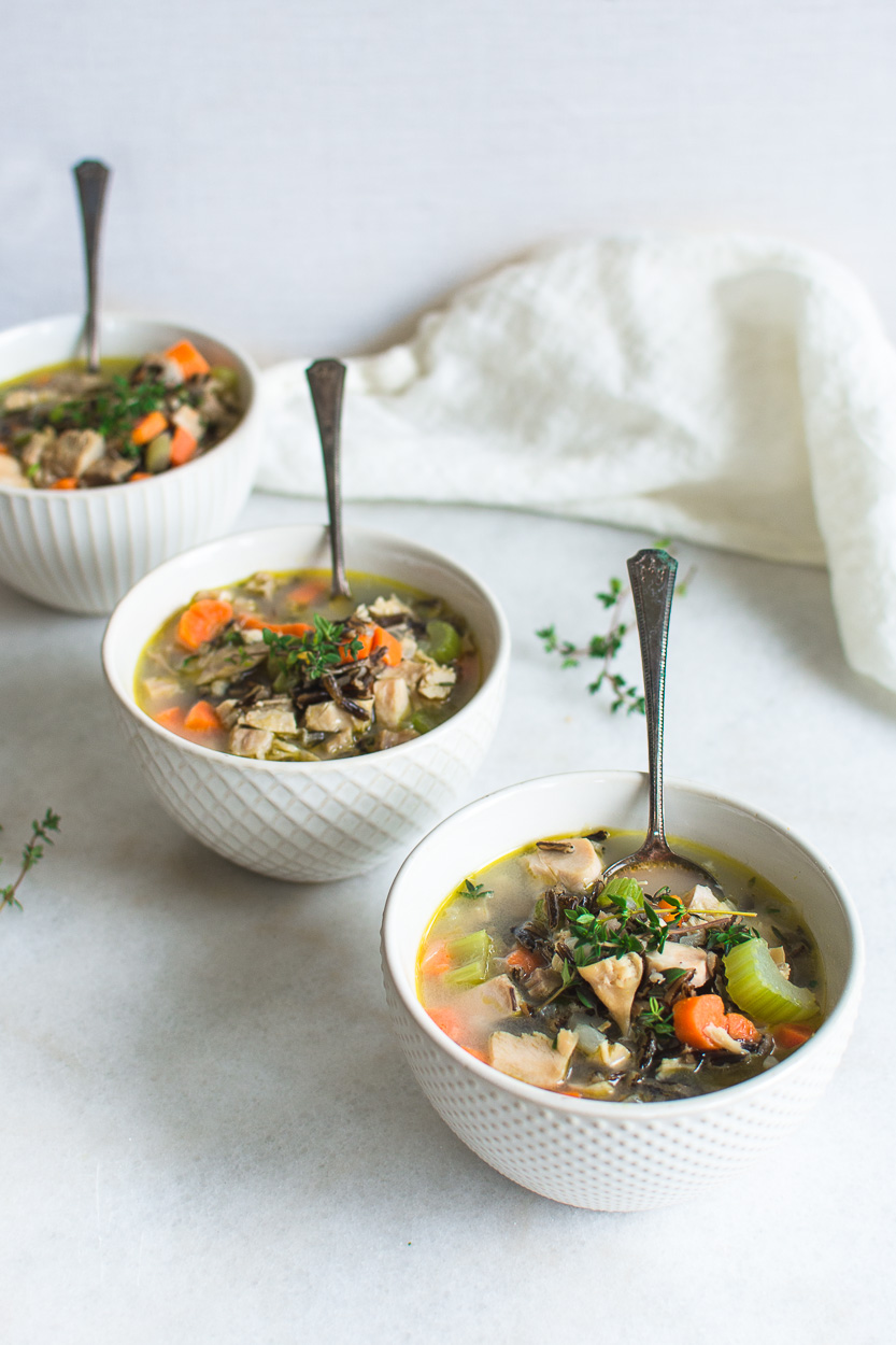 Turkey and wild Rice Soup Recipe with Thyme - Nourished ...