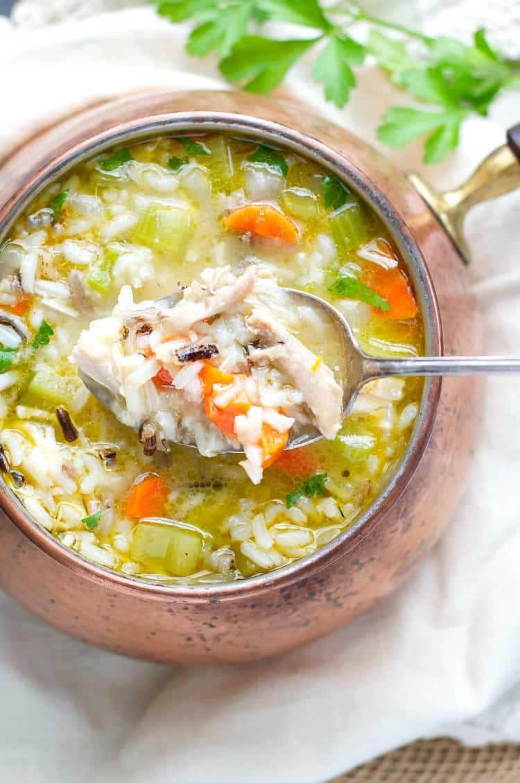 Wild Rice and Leftover Turkey Soup - The Seasoned Mom