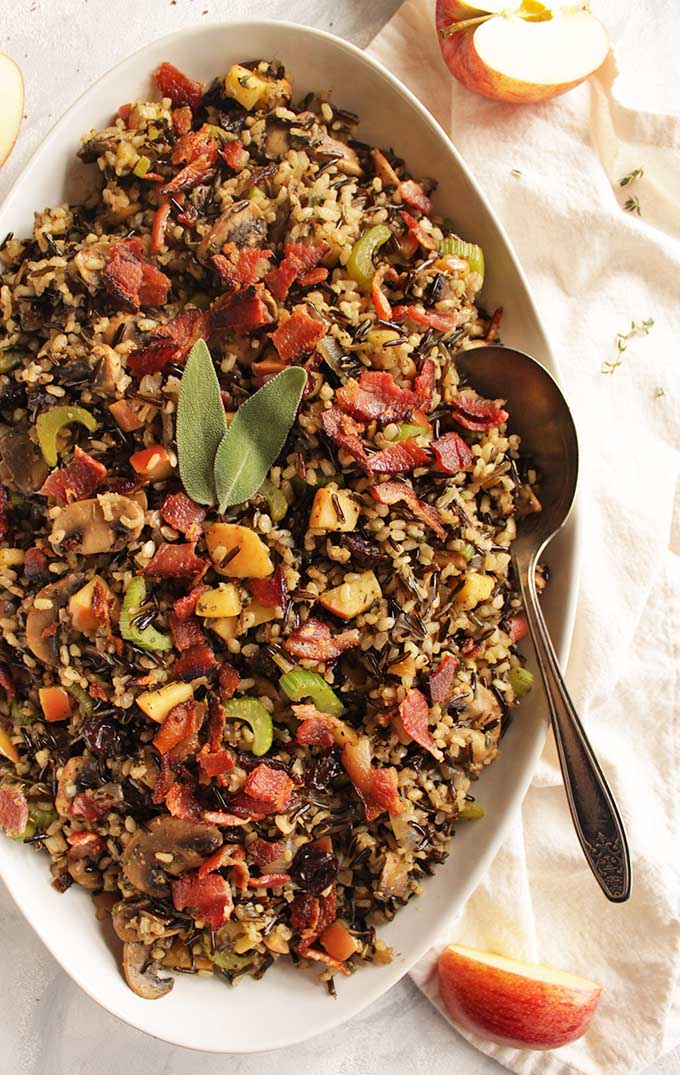 Wild Rice Mushroom Stuffing with Bacon - Robust Recipes