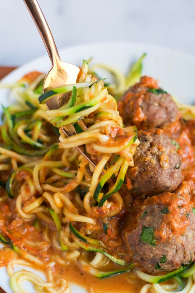 Zoodles with Turkey Meatballs in a Red Pepper Sauce ...