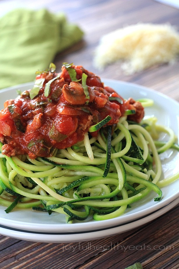Zucchini Noodles with Meat Mushroom Tomato Sauce {Gluten ...