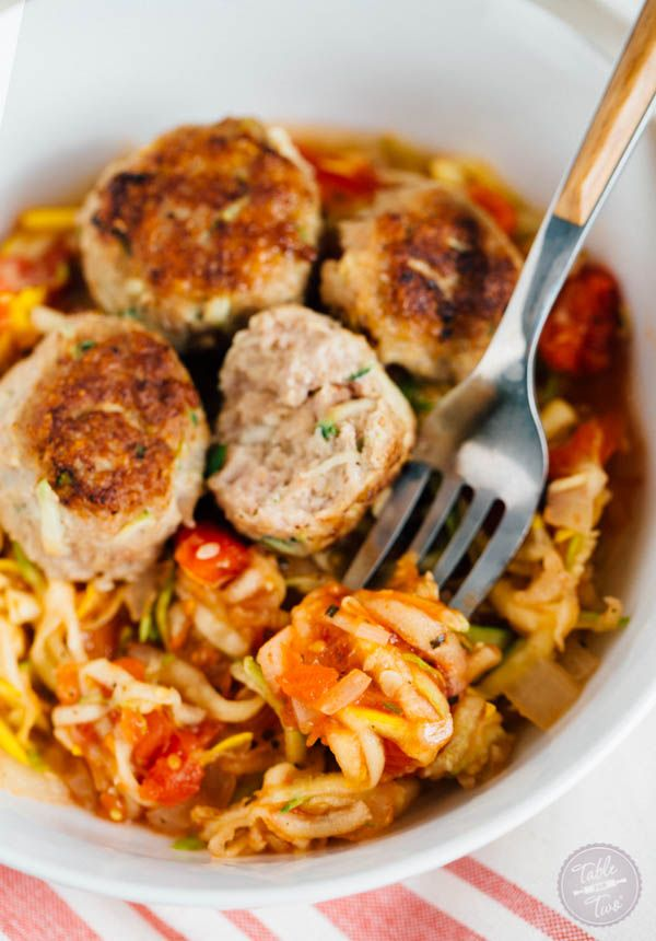 Zucchini Turkey Meatballs with Zoodles | Recipe | Food ...