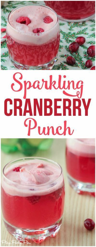 This cranberry raspberry holiday punch recipe looks ...